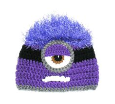 Purple One Eyed Minion / Handmade / Crochet /  Hat / Beanie / Photo Prop (Karie's Crochet Designs, on Etsy)