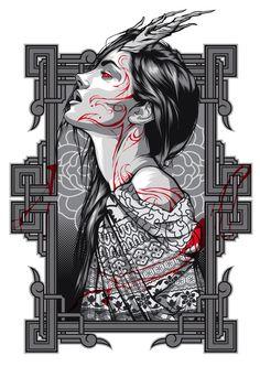 Blood Moon girl on Behance Geisha Kunst, Geisha Art, Art And Illustration, Fantasy Kunst, Fantasy Art, Tekken Girls, Art Sketches, Art Drawings, Arte Indie