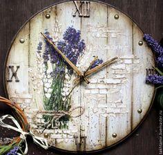 Купить И я возьму лаванды веточку... - комбинированный, часы, часы настенные, часы декупаж, прованс