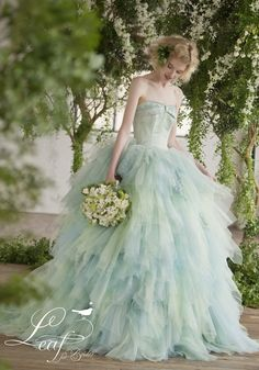 JUNO カラードレス leaf for brides mint green blue