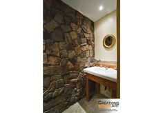 Interior Wall covered with Cultured Stone Mix of Chardonnay Dressed Fieldstone and Tudor Old Country Fieldstone