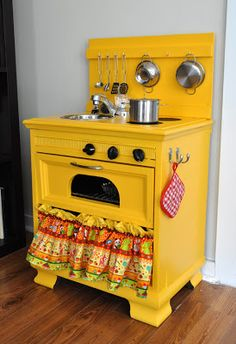 Really want to trade out R & P's plastic kitchen for something like this, with a fridge!