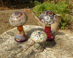 Lampwork Glass Mushroom Sculptures    Set by jubilantglassandart, $90.00