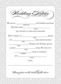 Mad libs wedding game from http://replybydesignstudio.etsy.com