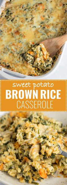Sweet Potato Brown Rice Casserole recipe made with mushrooms, spinach, mozzarella, parmesan, and cheddar. A hearty vegetarian comfort food recipe. Use less garlic, a lot less