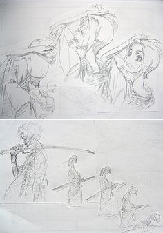 "as-warm-as-choco: ""Some rare Samurai Champloo (サムライチャンプルー) rough sketches from the opening titles, which was animated by Takeshi Koike (小池健) and directed by Mamoru Hosoda (細田守) ! They worked together. Mamoru Hosoda, Samurai Champloo, Character Design, Illustration Art, Sketches, Animation, Manga, Drawings, Redline"