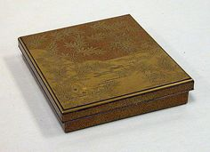 Writing Box (Suzuri-bako) with Design of Chapter 9 from Tales of Ise  Period: Edo period (1615–1868) Date: 17th century Culture: Japan Medium: Gold maki-e with inlaid silver Classification: Lacquer