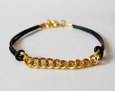 My DIY: Black Leather Chain Bracelet by starryday
