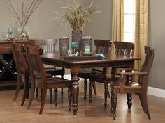 Part of our exclusive Amish Craftsmen collection, the Springfield dining is made of solid knotty cherry.  The table is a generous 45