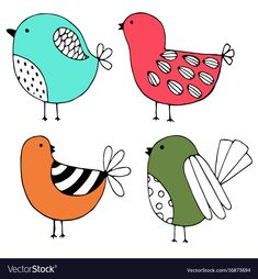 Cute hand drawn collection of birds doodle design vector image on VectorStock Bird Doodle, Doodle Art, Bird Drawings, Easy Drawings, Bordado Popular, Hand Drawn Cards, Graphisches Design, Animal Doodles, Bird Quilt