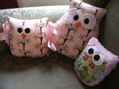 Pink  Soft  Owl Buddy  Large Owl Pillow Softie     Song Bird  Fabric  Body. $14.00, via Etsy.