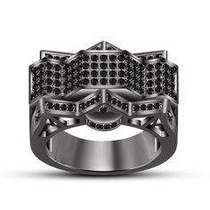14k Black Gold Plated 925 Silver Black Diamond Men's Fashion Wedding Band Ring #Silvergemsjewelry #WomensBandRing