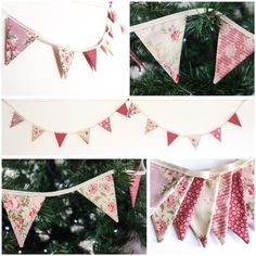 Dusky pink mini Bunting vintage style Christmas Tree | Etsy Christmas Tree Decorations, Christmas Fun, Holiday Decor, Bedroom Bunting, Pink Bunting, Vintage Style, Vintage Fashion, Girls Bedroom, Garland