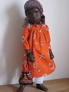 African Autumn Ensemble - dress with long pantaloons with bag and headscarf Sasha Doll, Vintage Toys, Art Dolls, Doll Clothes, Childhood, African, Doll Outfits, Autumn, Friends