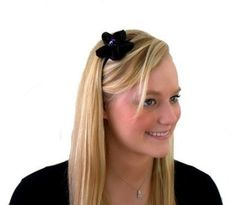 Deep Black Sequined Five Petal Flower, Gorgeously Glowy Sparkly Headband $15.99