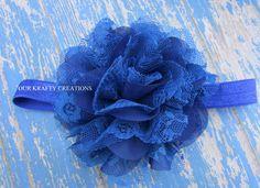 Blue Headband, Lace Headband, Polyester Flower, Elastic Headband, Infant Headband, Photo Shoot Prop by OurKraftyCreations on Etsy