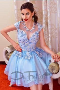 Rochie Bleu Ciel de Lux stil Printesa cu Broderie Cusuta Manual Imperial Blue
