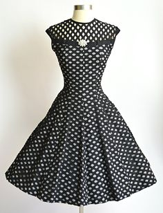 1950's Vintage Black and White Gingham with by RubyFayesVintage