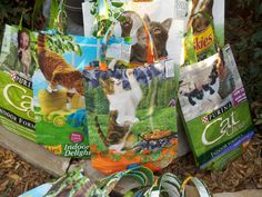 A few folks were interested in how I repurposed the pet food/bird seed bags into tote bags. Here's an illustrated step-by-step recap of the ...