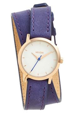 "Nixon ""The+Kenzi"" Wrap Leather Strap Watch"