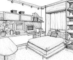 Line Drawing Office Bedroom