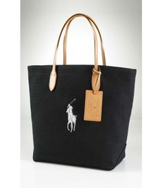 Polo Ralph Lauren Canvas and Leather Pony Tote-Black 0859f2c1469fa