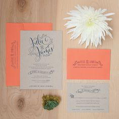Rustic Kraft Paper Wedding Invitation Boho by JenSimpsonDesign