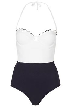 TOPSHOP	Cream Scallop Texture Swimsuit