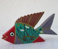 ✿  vintage Wooden hand painted carved FISH,  carving | Antiques, Decorative Arts, Woodenware | eBay!