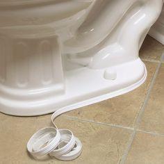 Waterproof Caulk Tape makes cleaning around the toilet easier.