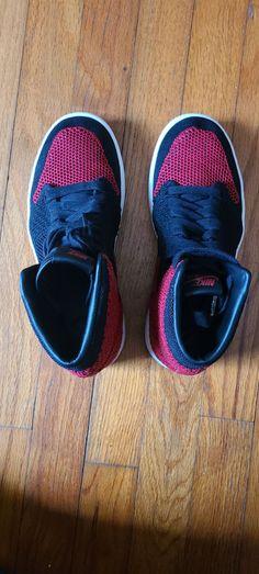 Air Jordan 1 high flyknit bred gs size 5 | Mercari Athletic Clothes, Athletic Outfits, Athletic Shoes, Jordan Retro 1, Jordan 1, Just Kidding, Cool Cards, Nike Men, Men's Shoes