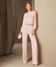 Bristol - Long-sleeved cocktail jumpsuit with a plunging back and gemstones