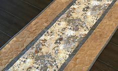 """Gray and Tan Rustic Floral Table Runner, Gray Shabby Chic Table Runner, Farmhouse Table Runner, 15.5"""" x 48"""""""