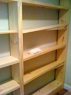 Deux Maison: Inspired to build! DIY Built-in Bookcase or pantry shelves. Bookshelves Built In, Bookshelf Diy, Bookcases, Book Shelves, Ana White Bookshelves, Diy Built In Shelves, Cheap Bookshelves, Plywood Shelves, Bookcase Wall