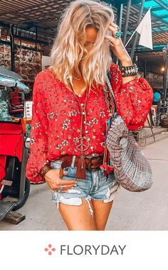 Shop Floryday for affordable Red Blouses. Floryday offers latest ladies' Red Blouses collections to fit every occasion. Long Blouse, Short Sleeve Blouse, Long Sleeve, Red Blouses, Blouses For Women, Vetement Hippie Chic, Mode Shorts, Look Boho Chic, Mode Hippie