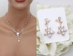 18  Hey, I found this really awesome Etsy listing at https://www.etsy.com/listing/265178579/crystal-bridal-necklace-set-rose-gold