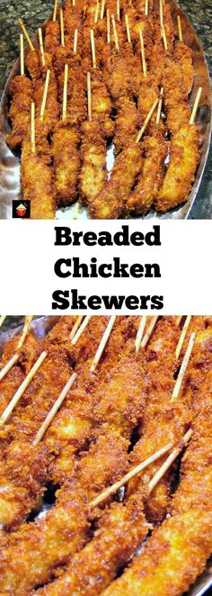 Breaded Chicken Skewers. These are a wonderful little appetizer or party food. Quick and easy to make and juicy to the bite too! Serve warm with your favorite dips. These always go fast at parties so be sure you make plenty!   http://Lovefoodies.com