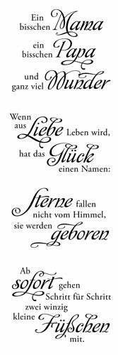 """Clear Stamp-Set Stempel-Gummi - Karten-Kunst Weise Worte """"Baby"""""""