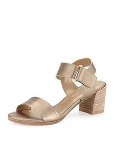 Broadband Metallic Leather City Sandal, Ale - Stuart Weitzman