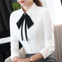 Decoration: Removeable Bow Fabric Type: Chiffon Material: Polyester,Spandex Collar: Turn-down Collar Sleeve Length(cm): Full size: S M L XL XXL XXXL Color: whiteNew elegant long-sleeve slim bow tie chiffon shirt Classy Outfits, Casual Outfits, Fashion Outfits, Womens Fashion, Cute Blouses, Blouses For Women, Shirt Blouses, Blouse Styles, Blouse Designs