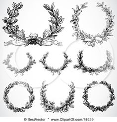 74929-Royalty-Free-RF-Clipart-Illustration-Of-A-Digital-Collage-Of-8-Black-And-White-Laurel-Wreaths.jpg (450×470)
