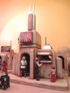 "Custom Deluxe Tatooine Merchant Tower Playset Diorama Star Wars 1:18 3.75"" #EmpireToyWorks"