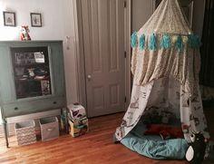 DIY Woodsy Hoola Hoop Canopy Fort