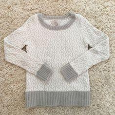 Ann Taylor LOFT sweater. Grey and cream Ann Taylor Loft sweater. Never worn. Ann Taylor Sweaters Crew & Scoop Necks