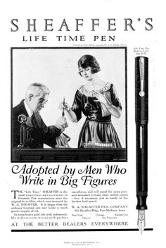 "Coles Phillips - Sheaffer's Pens ad (1920?) ""Adopted by Men Who Write in Big Figures"""