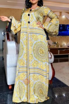 African Maxi Dresses, Latest African Fashion Dresses, African Dresses For Women, Latest Fashion, Fashion Today, Cheap Fashion, Long Sleeve Maxi, Maxi Dress With Sleeves, Yellow Fashion