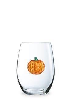 Pumpkin Stemless Jeweled Wine Glass October Birthday Thanksgiving Gifts