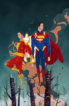 "nicolasrix: ""Superman & Shazam "" Another old piece."