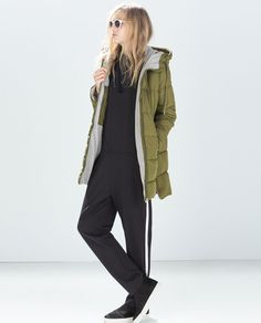 Image 1 of QUILTED COAT WITH HOOD from Zara
