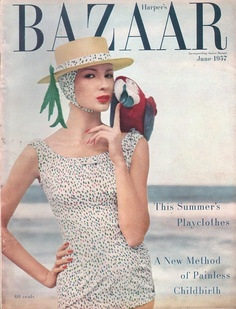 Jessica Ford in bathing suit by Givenchy for Jantzen, cover photo by Louise Dahl-Wolfe, June 1957 Fashion Magazine Cover, Fashion Cover, Magazine Covers, Diana Vreeland, Lauren Bacall, Richard Avedon, Vintage Style Magazine, Pinup, Vintage Fashion Photography